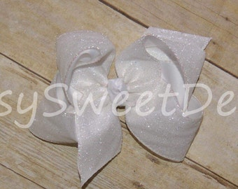 SSD Solid WHITE Glitter  Boutique Hairbow Sassy Sweet Designs Custom