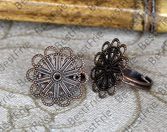 6pcs Antique copper Open Adjustable RING Filigree Base Cabochon , Filigree Base Rings,jewelry findings