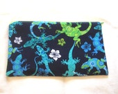 Lizards Fabric Zipper Pouch / Pencil Case / Make Up Bag / Gadget Sack