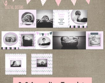 3x3 Mini Accordion Album Template Newborn album template for photographers pink grey baby girl INSTANT DOWNLOAD elements or cs