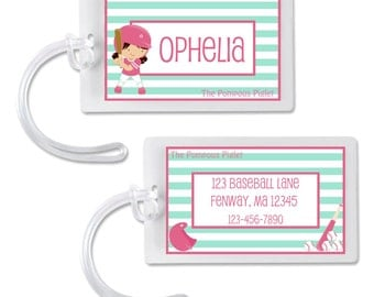 Softball Personalized Luggage Tag Girly Baseball Bag Tag