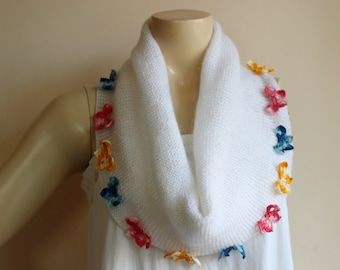 Butterfly Scarf- Hand Knitted Neckwarmer-White Infinity Scarf -White Cape-Mohair Scarf-Wedding Scarf