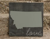 State Sign - Home state wood sign - Wood sign - Custom Wood Sign, you pick colors - State Love, weathered
