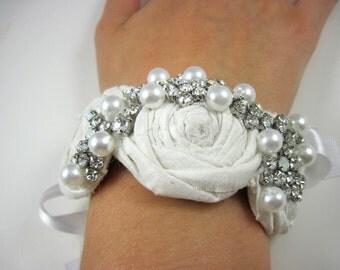 Crystal bridal bracelet - corsage - cuff bracelet - bracelet for bride - wedding accessories