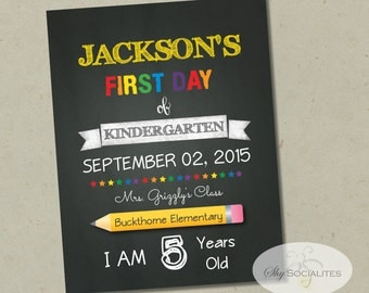 First Day of School Chalkboard Print | Editable Text, DIY, Art Print, Chalkboard Sign, Kindergarten, Grade School | INSTANT DOWNLOAD