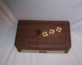 Walnut and Dogwood Design Inlay Large Jewelry Box-The Elite Collection 16.5''x10''x6'' Handmade jeweiry box ,Large wooden Jewelry Box