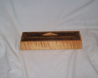 Small wooden box Fiddle Back Maple Trapezoid Keepsake box with Fancy Walnut top.Handcrafted 7''x3 1/2''x2 3/4'
