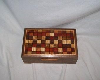 Walnut Quilted Pattern  10''x6 1/4''x3''Keepsake box Treasure Box Handcrafted