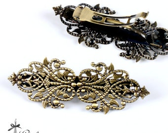 2Pcs 95mm Antique Bronze Plate Brass Filigree Hair Clips Setting  NICKEL FREE (PINSS-61)