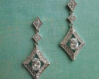 MARLENE ~ Bridal Art Deco Silver Retro Diamond Shaped with Oval CZ Drop Earrings