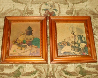 Vintage Framed Prints Rustic Shabby Country Primitive Decor Wood Frames