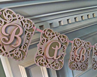 Baby Shower Banner, Blush, Gold, Pink, Baby Shower Decoration, It's A Girl Banner