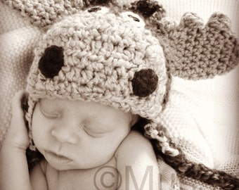 Moose Hat - Woodland Moose Hat - Child Size Moose - Halloween Costume Moose Hat - Newborn Moose Photo prop - by JoJosBootique