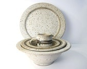 Vintage Modern Pottery Stoneware Set - Speckled Ceramic Plate / Platter, Bowls, Cup - Late Mid-Century Studio Pottery Signed
