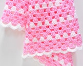 Pink & White Baby Blanket, Crocheted Granny Square Patterned Blanket, Stroller/Travel/Car Seat Blanket