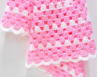 Pink & White Baby Blanket, Crocheted Granny Square Patterned Blanket, Stroller/Travel/Car Seat Blanket