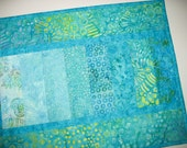 Batik Table Runner in shades of turquoise, aqua, Spring, Summer, Ocean colors