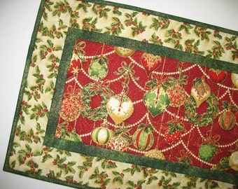 Christmas Table Runner  Ornaments quilted  fabric from Holiday Flourish by Peggy Toole