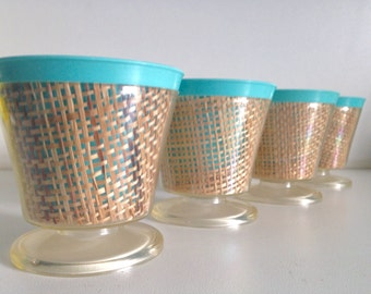 Vintage Raffia Ware Blue Pedestal Cups/Bowls