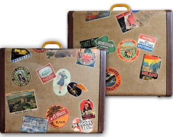 Vintage Suitcase Luggage 1950's Travel Badges Stickers Luggage Lucite Handle  Lining
