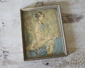 Vintage Young Lady in Shawl Print Picture