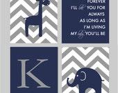 "Baby Boy Nursery Navy and Gray Nursery Elephant Nursery Giraffe Nursery I'll Love You Forever Giraffe Nursery You Choose Colors - 8""x10"""