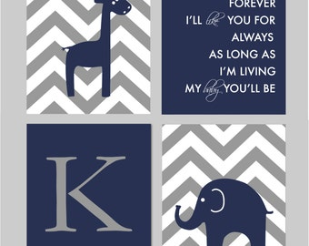 "Baby Boy Nursery Navy and Gray Nursery Elephant Nursery Giraffe Nursery I'll Love You Forever Giraffe Nursery You Choose Colors - 8""x10"""