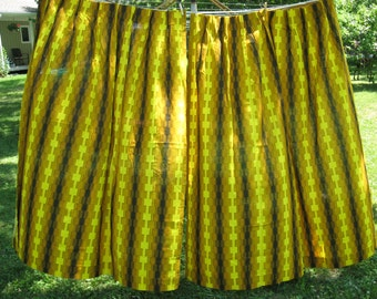 Exemplary set of 2 mod vintage cotton bark cloth curtain panels atomic mid century mod gold yellow brown