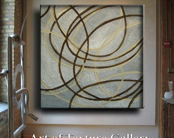 4 Ft Huge Original Abstract Texture Modern White Beige Gray Brown Impasto Circle Carved Sculpture Knife Oil Painting by Je Hl