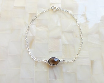 Step-Cut Faceted Smoky Quartz Sterling Silver Bezel Connector on Sterling Silver Chain Bracelet (B1176)
