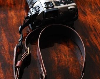 Leather camera strap - All leather camera strap for DSLR camera, photographer gift, stocking stuffer  - Brown