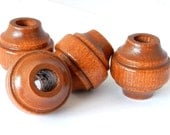 Chunky Vintage Wood Beads - light brown maple - 2 pieces