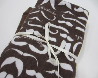 Burp Cloths, Set of 2, Large, Flannel and Terry Cloth, Mustaches