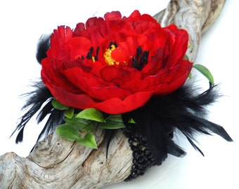 Wedding Corsage, Corsages, Silk Corsage, Red Rose Corsage, Rose Corsage, Silk Rose Corsage, Prom Corsage, Wrist Corsage, CARMEN Collection.