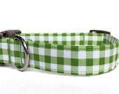 Gingham Dog Collar / Green Plaid Dog Collar / Green Gingham Dog Collar /  Green White Check dog collar / green white plaid collar /