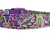 Purple Paisley Dog Collar / Purple Dog Collar / Paisley Dog Collar / Girl Dog Collar / Adjustable Collar / Purple Green Dog Collar