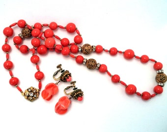 Miriam Haskell Necklace and Earring Set, Signed, Coral Art Glass, Gold Filigree Beads, Rhinestones