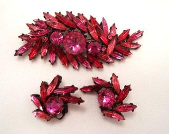 Pink, Ruby,Red, Fuchsia Navette Rhinestones Brooch and Earrings Set