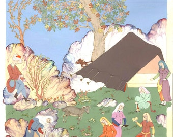 Persian painting/persian miniature/ladies with sheeps/oriental landscape/giclee art print