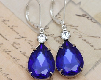 Sapphire Blue Earrings Crystal Earrings Silver Earrings - Pear Shaped Earrings Royal Blue Earrings Dangle Earrings Clip Ons Available