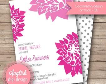 Chrysanthemum Bridal Shower Invite, Printable Floral Bridal Shower Invitation, Chrysanthemum Shower Invite - Mod Chrysanthemum in Pink