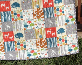 SALE LAST ONE Organic Baby Quilt, Outdoors Nature, Elk Grove, Boy or Girl Blanket, Gender Neutral, Deer Fawn Woodland Animals
