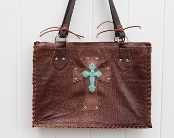 Croco Embossed Leather Tote