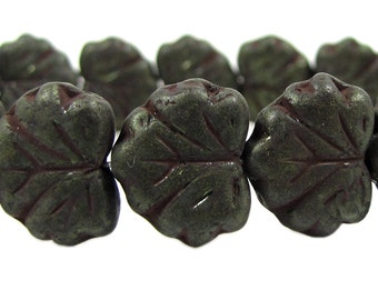 Czech  Glass Maple Leaf Beads, 10x13mm, Dark Bronze, Qty: 10