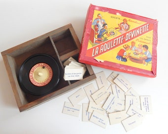 Vintage French Word Game Set with Roulette Wheel in Wood Box