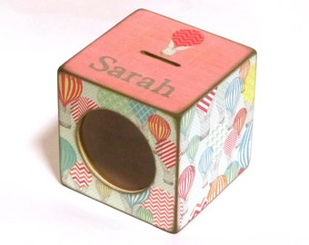Wood Coin Bank Box Childs Piggy Bank with Window - Hot Air Balloons with Pink - Personalized