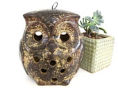 Vintage Ceramic Owl Lantern Candle Holder Candleholder Brown Outdoor Indoor Stoneware Tea Light Votive 1970's