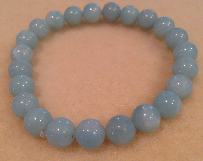 Amazonite A Grade 8mm Round Bead Stretch Bracelet with Sterling Silver Accent