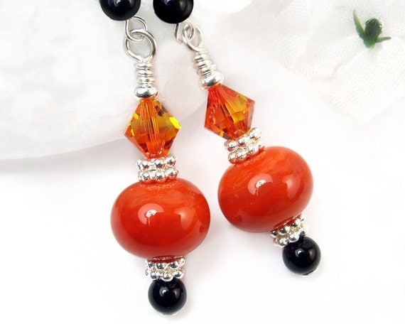 Halloween Earrings Orange Black, Lampwork, Onyx, Crystals, Sterling Silver, Handmade, Samhain, Elegant