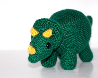 Terence the Triceratops - Dinosaur Crochet Pattern. Instant Download Digital Crochet Pattern.
